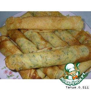 Рецепт Сырные блинчики с укропом