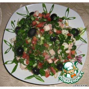"Рецепт: Салат со щупальцами кальмаров ""Шаланды"""
