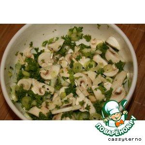 Рецепт Салат из свежих шампиньонов с зеленым луком