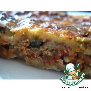 Рецепт Киш   с   мясным   фаршем   и   грибами