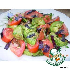 Рецепт Салат с печенными кабачками и свежими помидорами