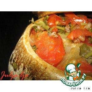 Рецепт Гречка с печенью и овощами в горшочке