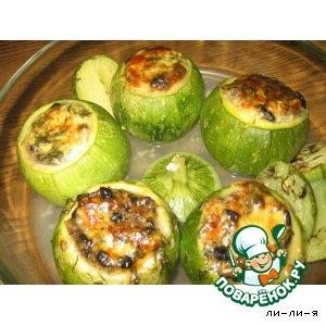 Рецепт Кабачки круглые, фаршированные грибами