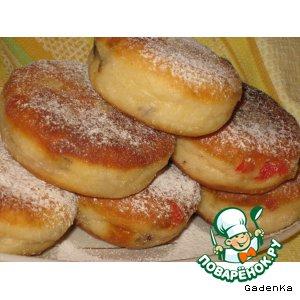 Рецепт Пончики кунжутные с вишней и изюмом