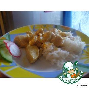 Рецепт Рагу из курицы в горчично-сливочном соусе