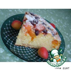 Рецепт Творожно-абрикосовый пирог с черешней