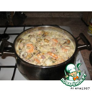 Рецепт Лапша  рисовая-удон  с  морепродуктами