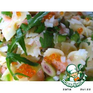 Рецепт Салат   с   макаронами,   семгой   и   овощами