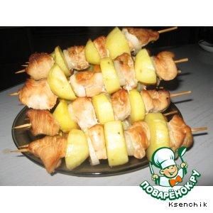 Рецепт Шашлычки из индейки и картофеля