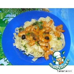 Рецепт Паста с креветками и кисло-сладким соусом