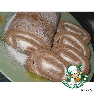 Рецепт Шоколадный рулет  с мороженым