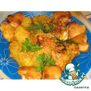Рецепт Курица в яблочно-сливочном соусе под сырными пышками