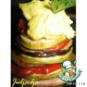 """Рецепт Закуска """"Овощная карусель"""" с яично-сырным кремом"""