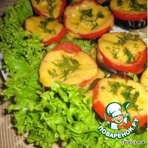 Рецепт Баклажаны запеченные с помидорами и сыром