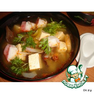 Рецепт: Мисо-суп с тофу и креветками