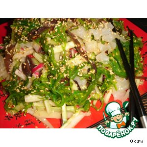 Рецепт Салат с миксом японских водорослей  и древесными грибами