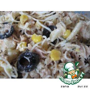 Рецепт Салат   из   сельдерея  с   кукурузой,   тунцом   и   оливками