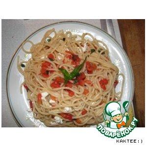 Рецепт Спагетти с творогом и помидорами:)