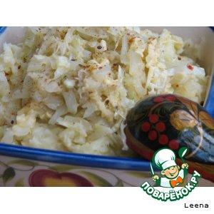 Рецепт Картошка - хлебу присошка (картофельное пюре с молодой капустой и сыром)