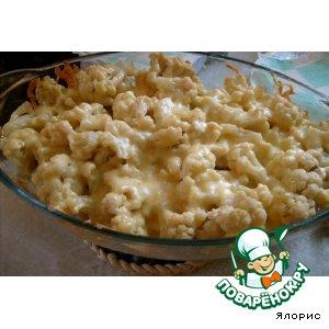Рецепт Цветная капуста с курицей под сырным соусом