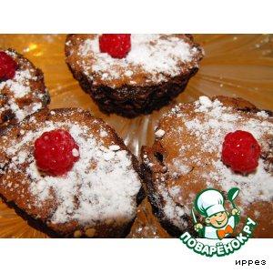 Рецепт Малиновые кексы-брауни с шоколадом