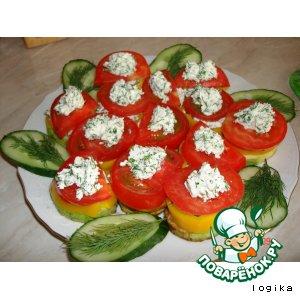 Рецепт Закуска «Овощи с соленым творогом»