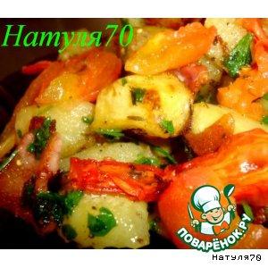 Рецепт Теплый салат из картофеля с грудинкой