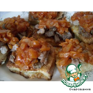 Рецепт Гренки со свиными эскалопами