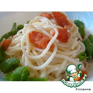 Рецепт Салат из спагетти с копченой семгой