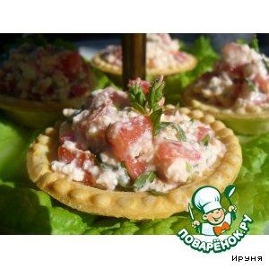 Рецепт Тарталетки с брынзой и томатами с пряной зеленью