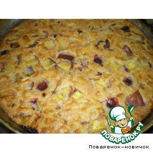 Рецепт Пирог с фруктами и сгущенным молоком