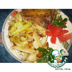 Рецепт Картошка жаренная со стручковой фасолью