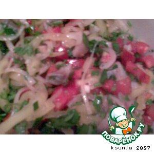 Рецепт Салат с селедкой, помидором и  перцем