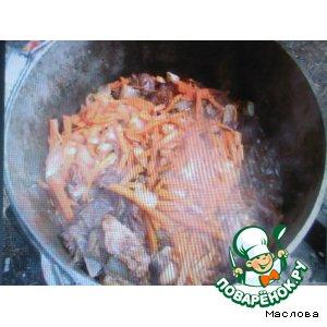 блюда из мяса в казане на костре рецепты видео