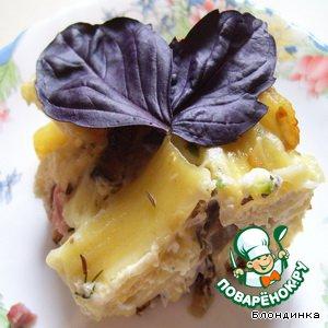 Рецепт Запеканка из макарон с ветчиной и баклажанами