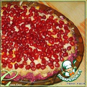 """Рецепт Куриный салат """"Рубиновые бусинки"""""""