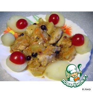 Рецепт Курица в морковно-клюквенном соусе с яблоком