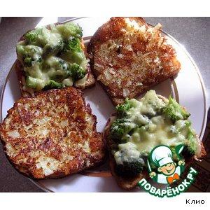 Рецепт Гренки с брокколи и  перевернутые гренки с кабачками