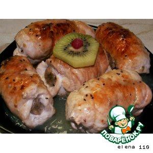 Рецепт Куриные рулетики с курагой под экзотическим соусом