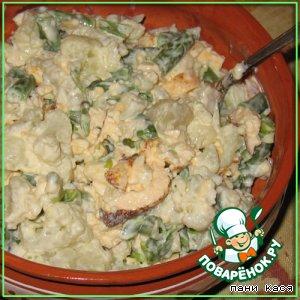 Рецепт Салат с цветной капустой и омлетом