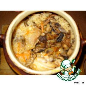 Рецепт Плов из курицы с грибами в горшочке