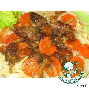Рецепт Куриные сердечки, тушенные с морковью и грибами