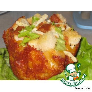 Рецепт Сырные корзиночки с омлетом и гренками