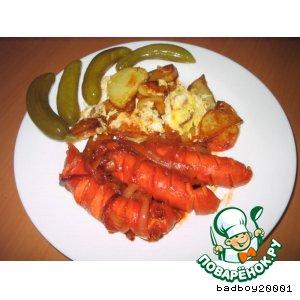 Рецепт Сосиски и жареная картошка , или просто ужин