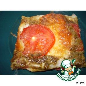 Рецепт Пирог с моцареллой, помидорами и песто