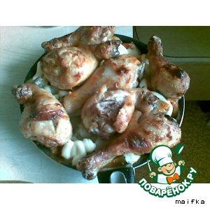 Рецепт Запеченные картошка с куриной голенью