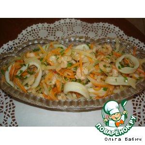 """Рецепт Закуска """"Хе""""  из морепродуктов с морковью"""