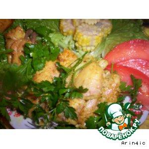 Рецепт Цыпленок в маринаде из простокваши с приправой карри и гарниром из молодой кукурузы