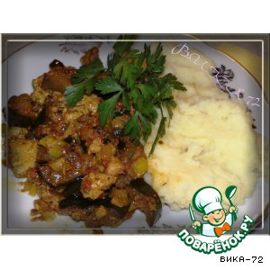 Рецепт Курица с баклажанами в остром соусе