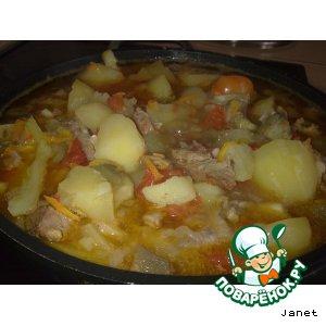 Рецепт Баранина с баклажанами, картофелем, перцем и помидорами